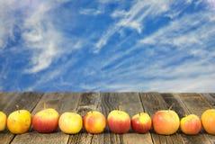 Fila de manzanas en la madera Imagen de archivo libre de regalías