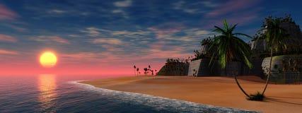 Fila de palmeras en la playa Fotografía de archivo libre de regalías