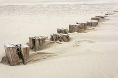 Fila de pequeño viejo, de madera, polos de la playa, significados para romper el agua para la seguridad foto de archivo libre de regalías