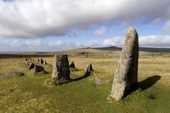 Fila de piedra de Merrivale en dartmoor Imagen de archivo libre de regalías