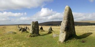 Fila de piedra de Merrivale en dartmoor Imagenes de archivo