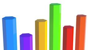 Fila de seis polos en diverso color, de diversas longitudes Imagen de archivo libre de regalías