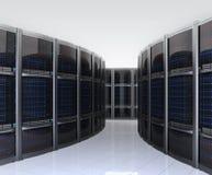 Fila de servidores en centro de datos con el fondo simple stock de ilustración