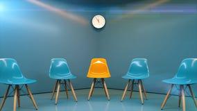 Fila de sillas con un una impar hacia fuera Oportunidad de trabajo Dirección del negocio Concepto del reclutamiento representació fotos de archivo libres de regalías