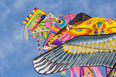 Fila degli aquiloni in cielo di estate Fotografia Stock