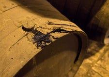 Fila dei barilotti di vino di legno impilati per invecchiamento dello sherry Fotografie Stock