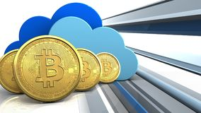 fila dei bitcoins 3d Immagini Stock