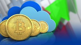 fila dei bitcoins 3d Immagine Stock