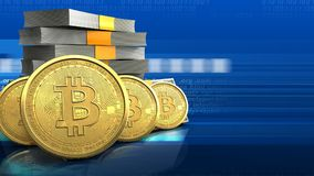 fila dei bitcoins 3d Royalty Illustrazione gratis
