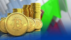 fila dei bitcoins 3d Fotografie Stock Libere da Diritti