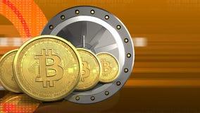 fila dei bitcoins 3d Fotografia Stock