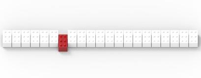 Fila dei blocchetti del giocattolo isolati su fondo bianco Fotografia Stock Libera da Diritti