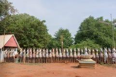 Fila dei cavalli dell'argilla al santuario del cavallo di Kothamangalam Fotografia Stock