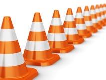 Fila dei coni arancio di traffico Fotografia Stock