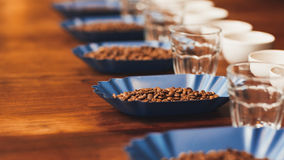 Fila dei contenitori con i chicchi di caffè arrostiti sulla tavola Fotografia Stock