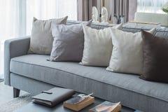 Fila dei cuscini sul sofà grigio moderno Fotografia Stock Libera da Diritti