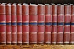Fila dei libri su uno scaffale Fotografia Stock