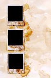 Fila dei telai macchiati vecchia annata della stampa della foto dello spazio in bianco di stile della polaroid Fotografie Stock Libere da Diritti