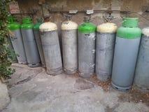 fila del bote del gas Foto de archivo