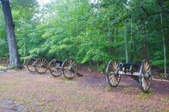 Fila del cañón de la guerra civil Fotos de archivo libres de regalías