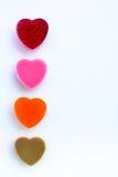 Fila del corazón formado jalea colorida del dulzor Fotografía de archivo