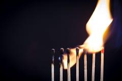 Fila del fiammifero Immagini Stock Libere da Diritti