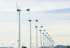 Fila del generatore eolico Fotografia Stock Libera da Diritti