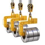 Fila del levantador de la bobina con la bobina de acero ilustración del vector