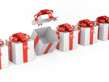 Fila del regalo con el arco y de la cinta - una caja abierta ilustración del vector