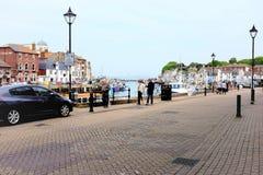 Fila della baia, Weymouth, Dorset immagine stock