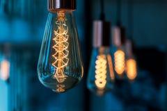 Fila della lampada in caffetteria Immagini Stock Libere da Diritti