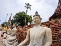 Fila della statua di Buddha del cemento bianco con luce solare a Wat Yai Chai Mongkol, si Ayutthaya, Tailandia di Phra Nakhon Bel fotografia stock libera da diritti