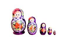 Fila delle bambole di Matryoshka del Russo Immagine Stock