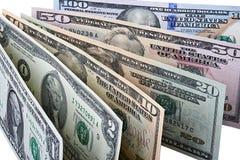 Fila delle banconote del dollaro Fotografie Stock Libere da Diritti