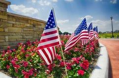 Fila delle bandiere americane dal lato della via Fotografia Stock Libera da Diritti
