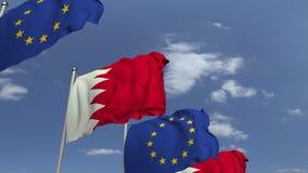 Fila delle bandiere d'ondeggiamento del Bahrain e dell'Unione Europea UE, animazione loopable 3D archivi video