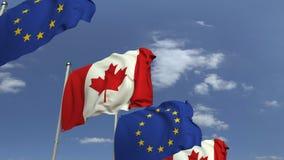 Fila delle bandiere d'ondeggiamento del Canada e dell'Unione Europea UE, animazione loopable 3D stock footage