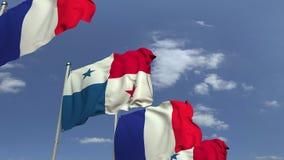 Fila delle bandiere d'ondeggiamento del Panama e della Francia, animazione loopable 3D archivi video