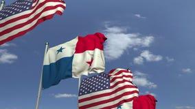 Fila delle bandiere d'ondeggiamento del Panama e di U.S.A., animazione loopable 3D video d archivio