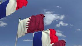 Fila delle bandiere d'ondeggiamento del Qatar e della Francia, animazione loopable 3D video d archivio
