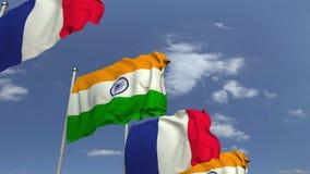 Fila delle bandiere d'ondeggiamento dell'India e della Francia, animazione loopable 3D stock footage