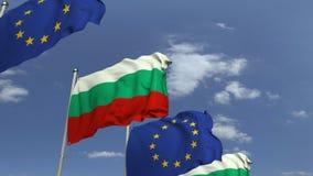 Fila delle bandiere d'ondeggiamento della Bulgaria e dell'Unione Europea UE, animazione loopable 3D video d archivio