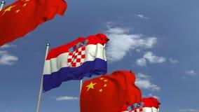 Fila delle bandiere d'ondeggiamento della Croazia e della Cina, animazione loopable 3D stock footage