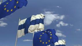 Fila delle bandiere d'ondeggiamento della Finlandia e dell'Unione Europea UE, animazione loopable 3D archivi video