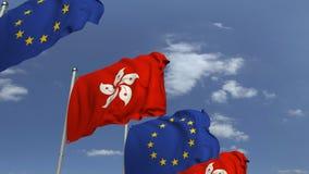 Fila delle bandiere d'ondeggiamento di Hong Kong e dell'Unione Europea UE, animazione loopable 3D archivi video