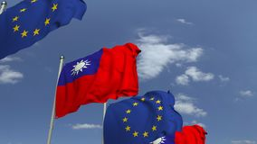 Fila delle bandiere d'ondeggiamento di Taiwan e dell'Unione Europea UE, animazione loopable 3D video d archivio