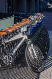 Fila delle biciclette parcheggiate alla via del mercato pronta per affitto Fotografia Stock
