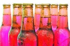 Fila delle bottiglie di birra Immagine Stock