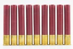 Fila delle cartucce per fucili a canna liscia Fotografie Stock
