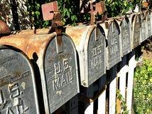Fila delle cassette delle lettere rurali del metallo Fotografie Stock Libere da Diritti